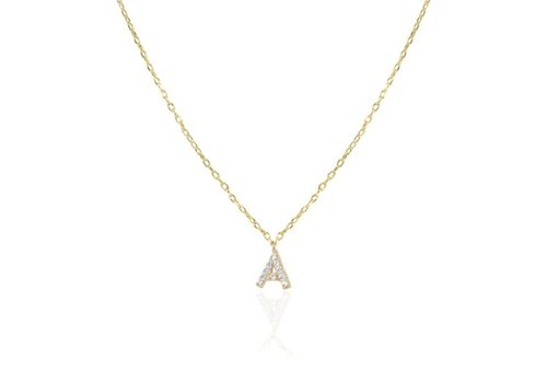 Melinda Maria Itty Bitty Pave Letter Necklace