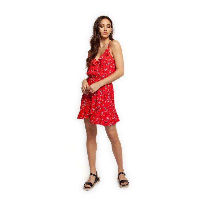 Ruffled Fake Crossover Dress