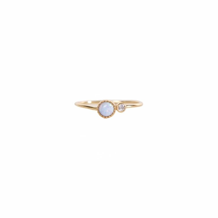 Mermaid Blue Opal Cubic Zirconia Ring