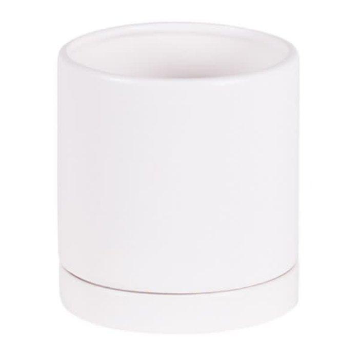 "Round Pot With Saucer Matte White 4.5"""
