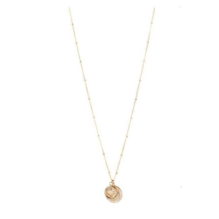 Cecile Coin and Circle Necklace Gold Fill