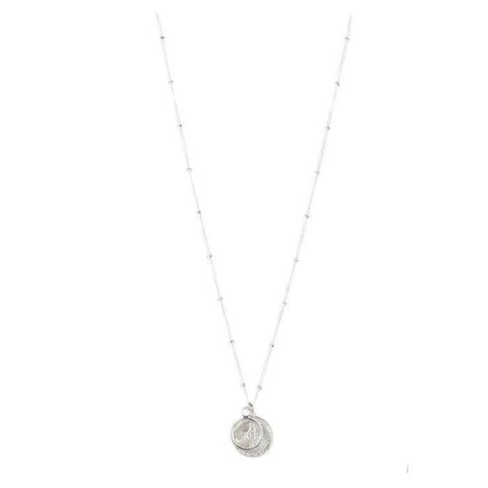 Cecile Coin and Circle Necklace Sterling Silver