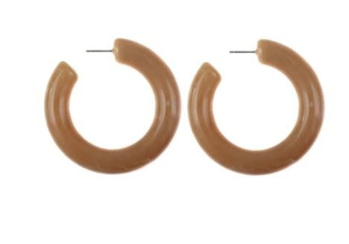Lisbeth Jewelry Acrylic Hoops Caramel Large