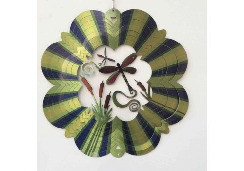 #62-19 Wind Spinners Wind Spinner Dragonfly Green 12""