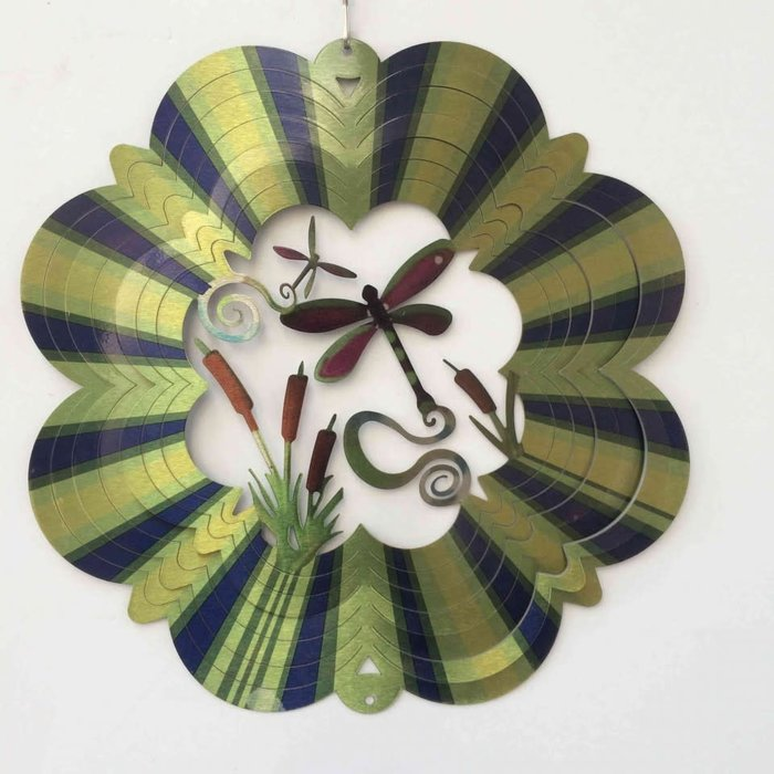 Wind Spinner Dragonfly Green 12""