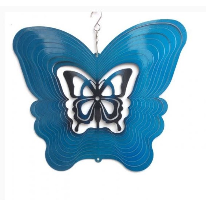 Wind Spinner Butterfly Blue 8""