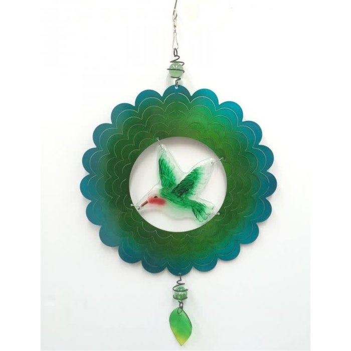 Wind Spinner Hummingbird Blue and Green 12""