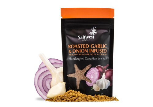 Saltwest Naturals Organic Roasted Garlic and Onion Infused Sea Salt 40g