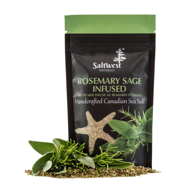 Organic Rosemary Sage Infused Sea Salt 40g