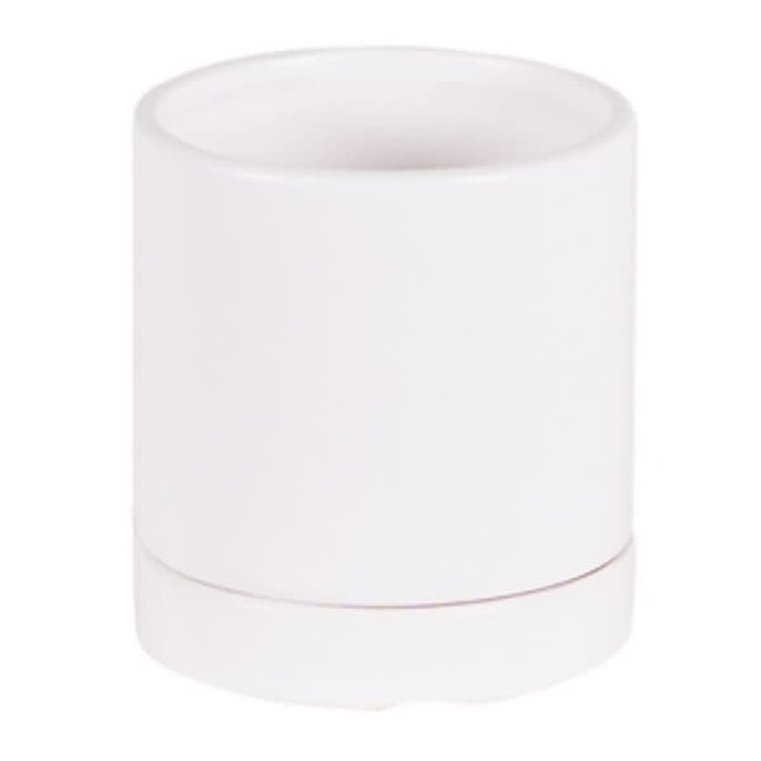 Round Matte White Pot with Saucer