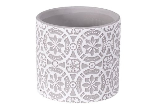 Hill's Imports Embossed Round Planter 4.75""