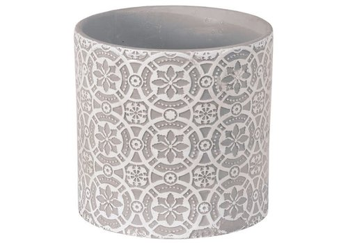 Hill's Imports Embossed Round Planter 6.25""
