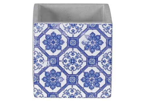 Hill's Imports Delft Blue Cement Cube Planter 4.25""