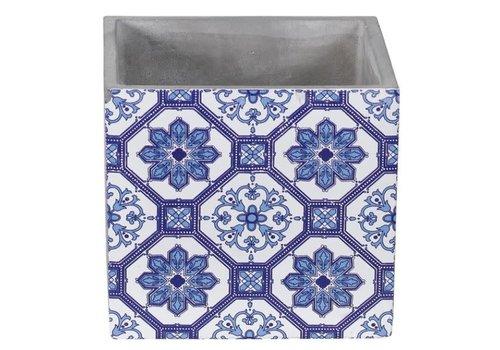 "Hill's Imports Delft Blue Cement Cube Planter 5.5"""