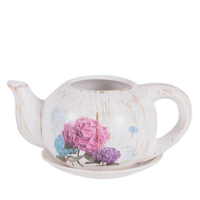 "Hydrangea Teapot Planter 9.25"""