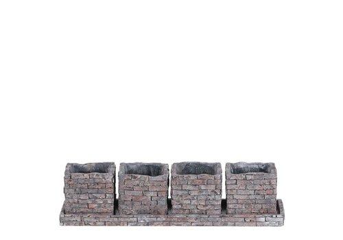"""Hill's Imports Brick Design Planter 14.5"""""""