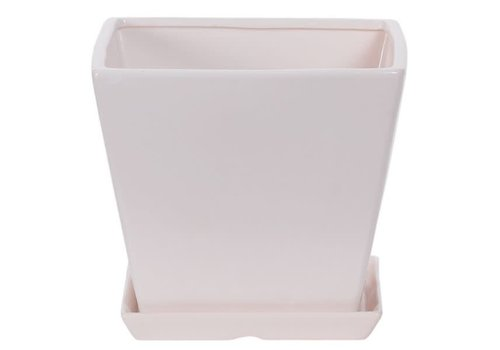 Hill's Imports Square Matte White Pot with Saucer 7""