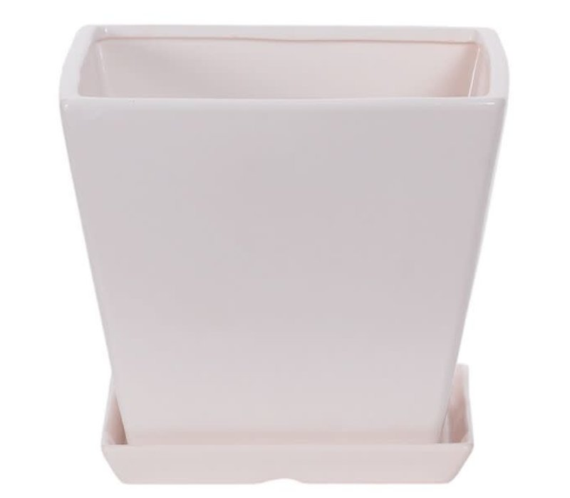 Square Matte White Pot with Saucer 7""
