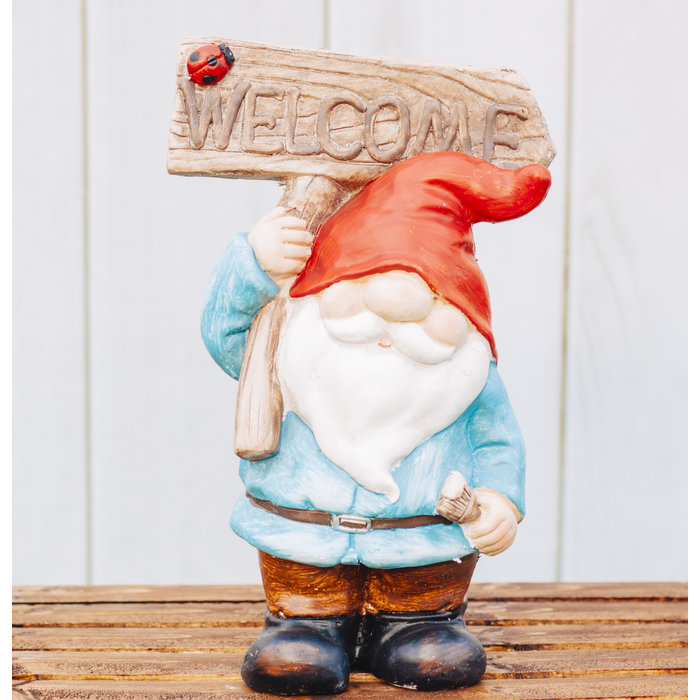 Gnome with Welcome Board