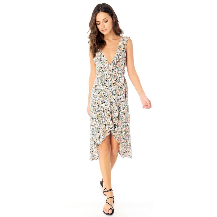 Sleeveless Ruffle Wrap Midi Dress