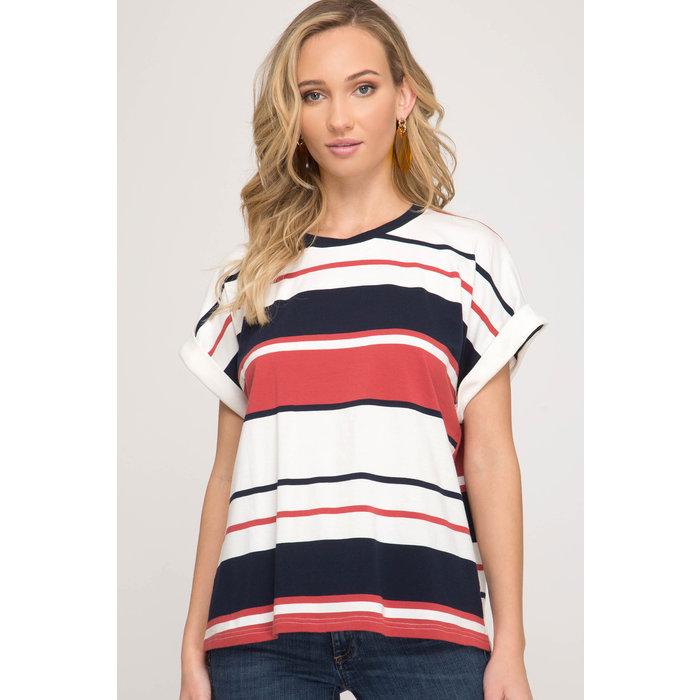 Cuff Sleeve Striped Top