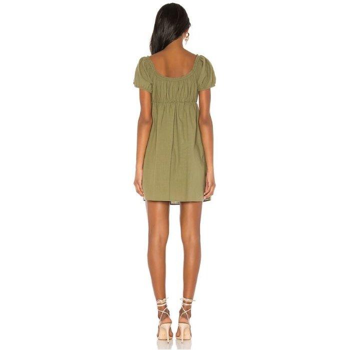 Linen Puff Mini Dress