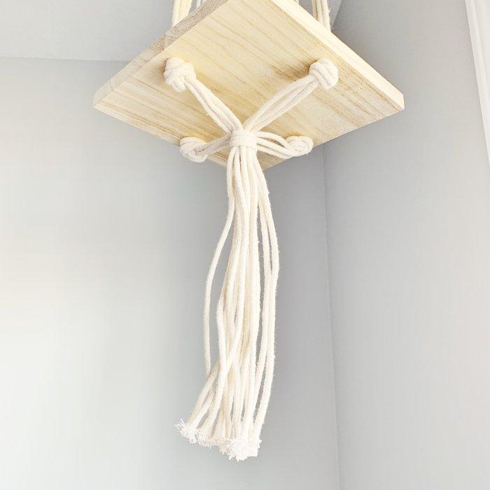 "Boho Hanging Wood Shelf 8.5"""