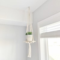 Boho Hanging Wood Shelf 8.5""