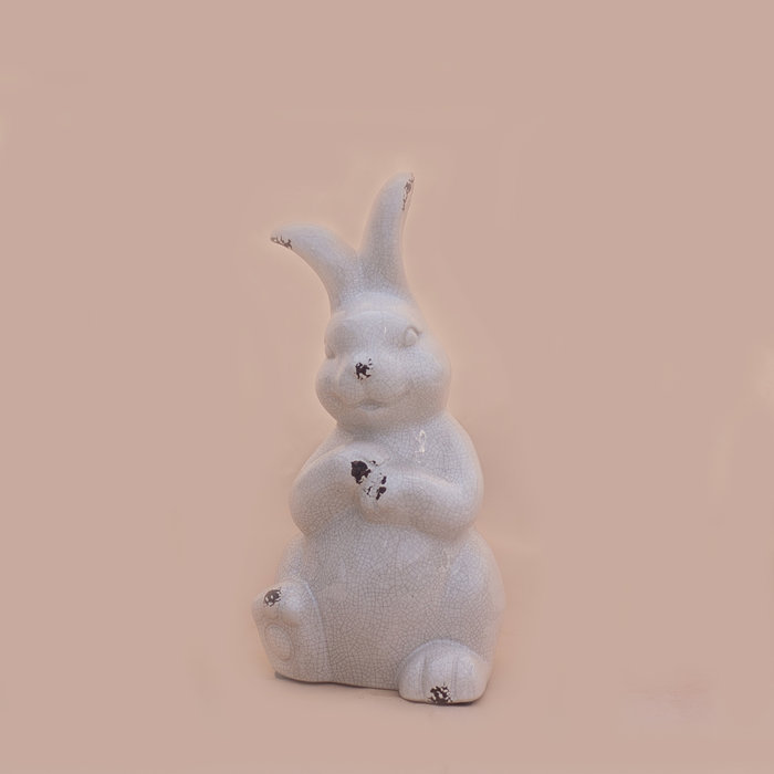 "Crackle Sitting Bunny White 6"" x 12"""