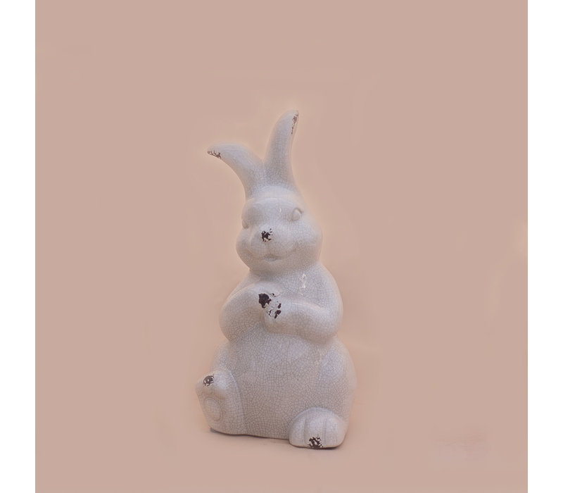"""Crackle Sitting Bunny White 6"""" x 12"""""""