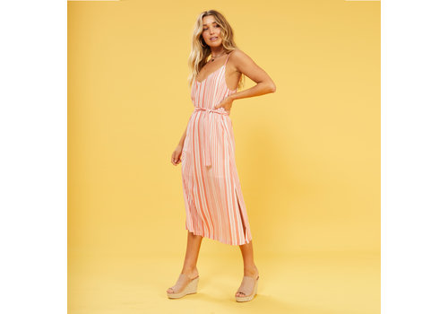 Mink Pink Ocean Side Stripe Midi Dress