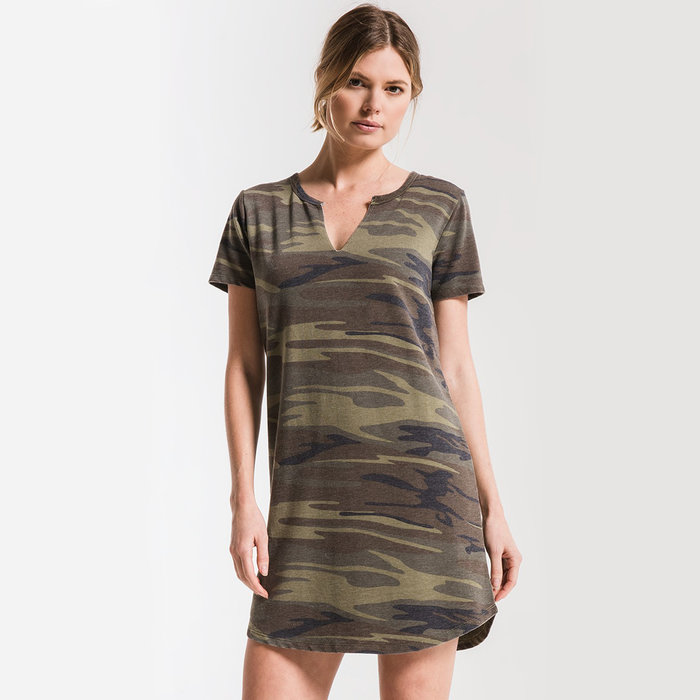 Camo Split Neck Dress