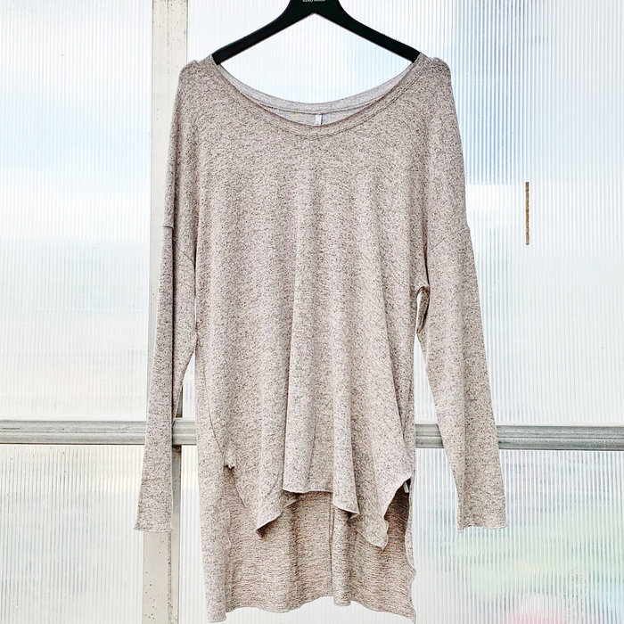 Marled Knit V Neck Tunic