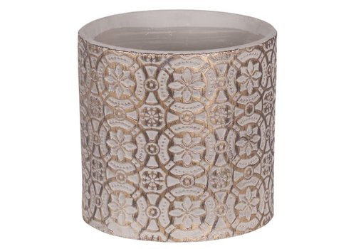 """Hill's Imports Gold Wash Embossed Round Pot 6.25"""""""