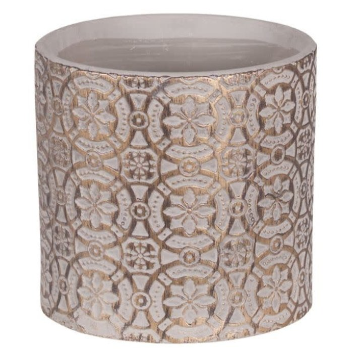 Gold Wash Embossed Round Pot 6.25""