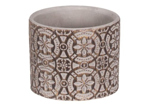 Hill's Imports Gold Wash Round Cement Pot 3.5""