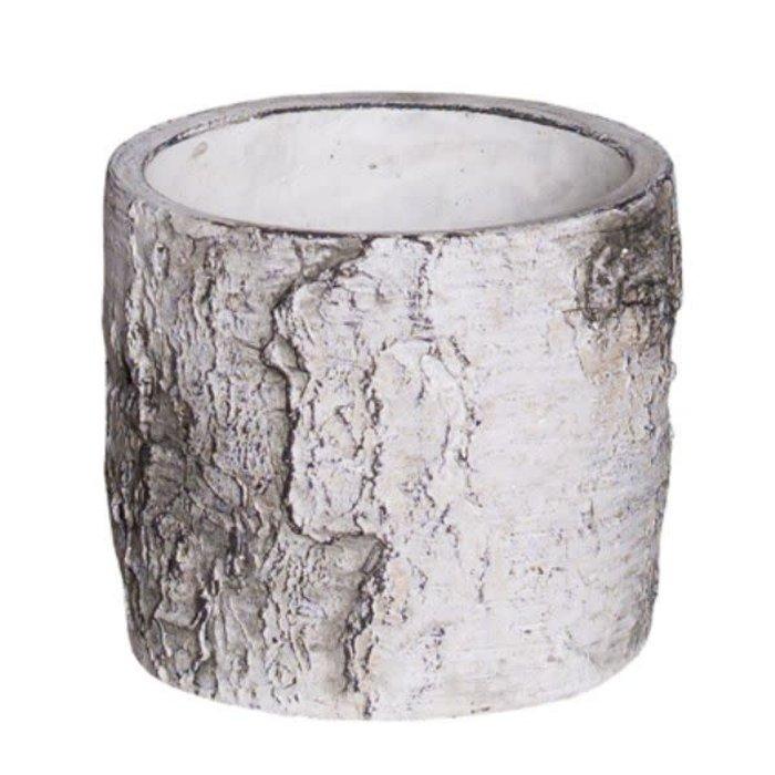"""Birch Bark Round Cement Cylinder 3.75"""""""