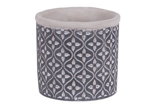 Hill's Imports Leaf Round Cement Pot 5""