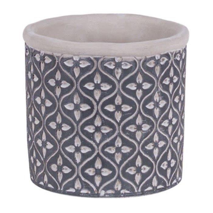 """Leaf Round Cement Pot 5"""""""