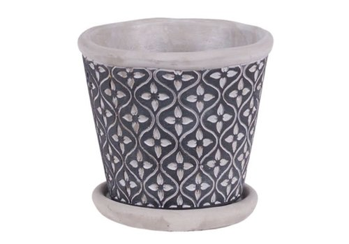 Hill's Imports Leaf Round Cement Pot With Saucer 4.75""