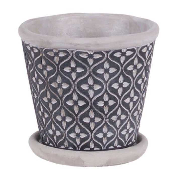 Leaf Round Cement Pot With Saucer 4.75""
