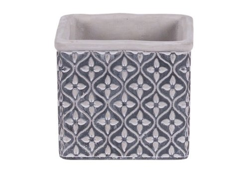 Hill's Imports Leaf Square Cement Pot 5""