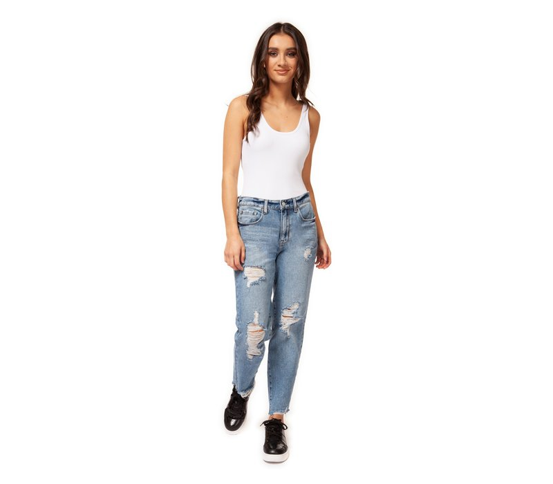 High Rise Destructed Mom Jean