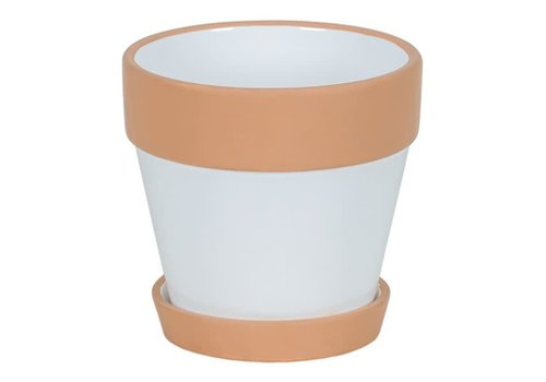"""Hill's Imports Clay and White Round Pot With Saucer 4.75"""""""