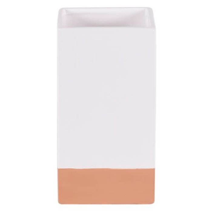 "Clay and White Glazed Vase 4x4x8"""