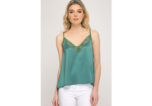 She & Sky Satin Cami With Lace Trim