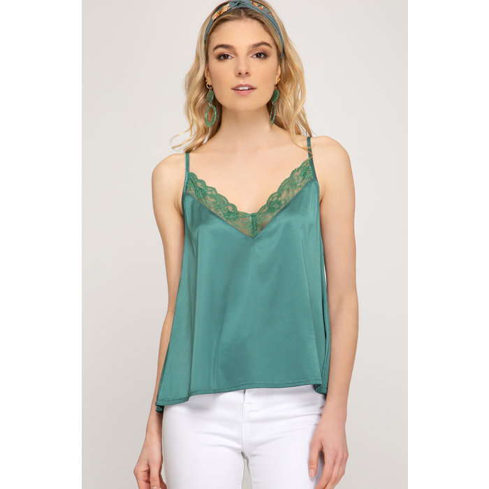 Satin Cami With Lace Trim
