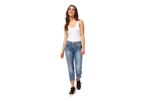 Dex Mid Rise Destructed Boyfriend Denim