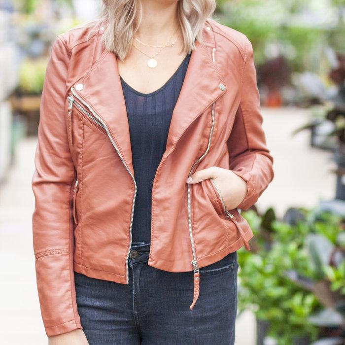 Ria Fav Short Faux Leather Jacket