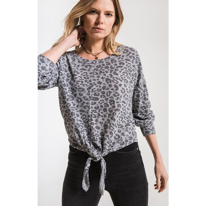 Leopard Tie Front Waffle Thermal Top